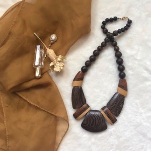 Vintage necklace made of wooden beads